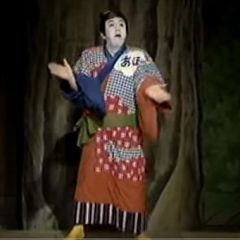 Kabuki actor plays a drunk imitating a man who is imitating a woman inspired by 1930's African American tap dancers