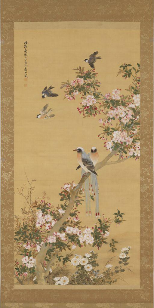 Noguchi Shōhin, Crabapple Blossoms and Birds, 1910, Collection of Kosetsu Memorial Museum, Jissen Women's University, Hino, Japan.